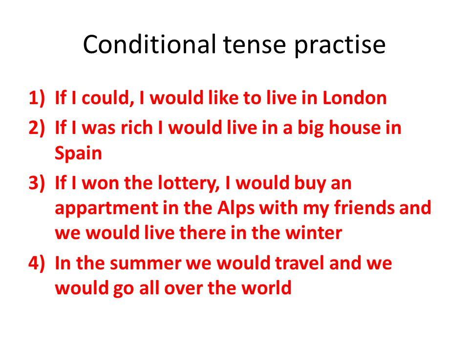 Conditional tense practise
