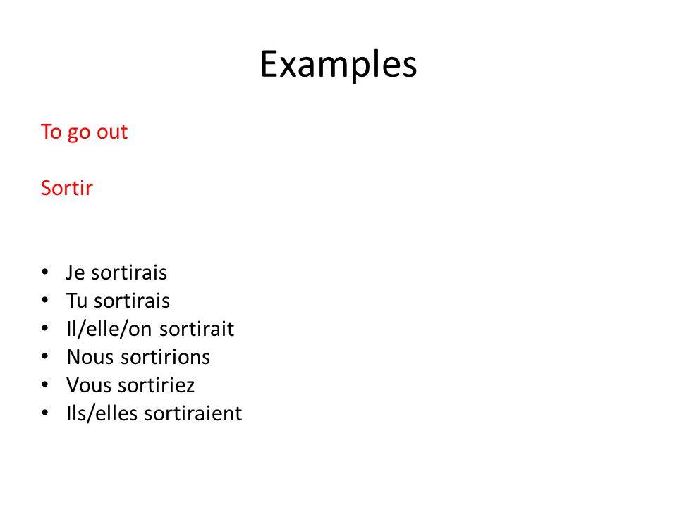 Examples To go out Sortir Je sortirais Tu sortirais