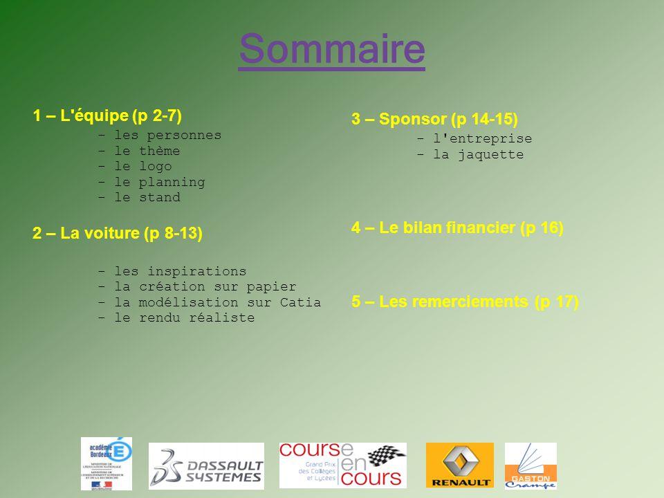 Sommaire 1 – L équipe (p 2-7) 3 – Sponsor (p 14-15) - les personnes