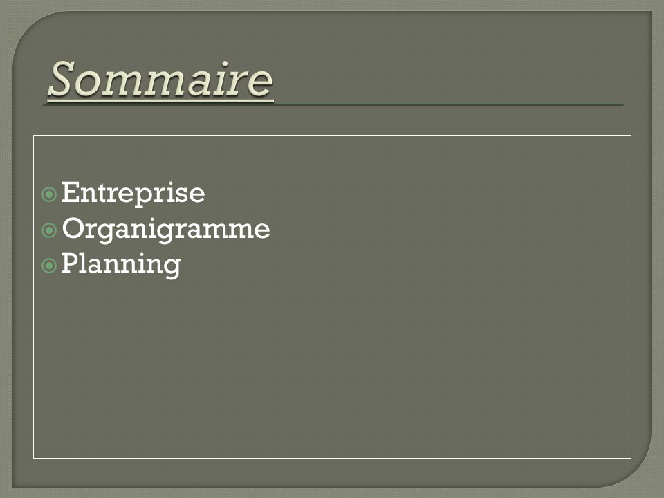 Sommaire Entreprise Organigramme Planning