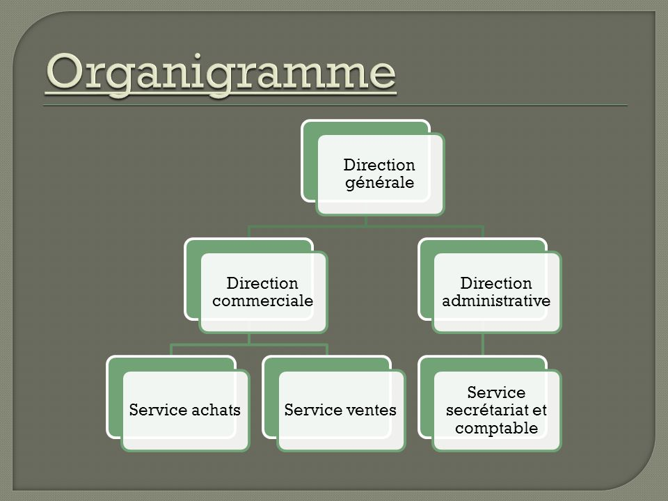 Organigramme Direction générale Direction commerciale Service achats
