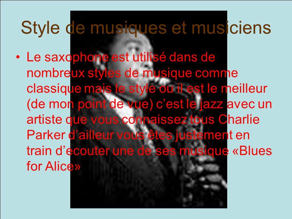 Style de musiques et musiciens