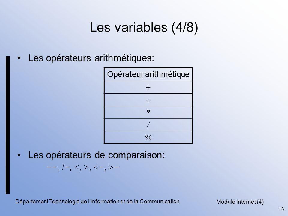 Les variables (4/8) Les opérateurs arithmétiques:
