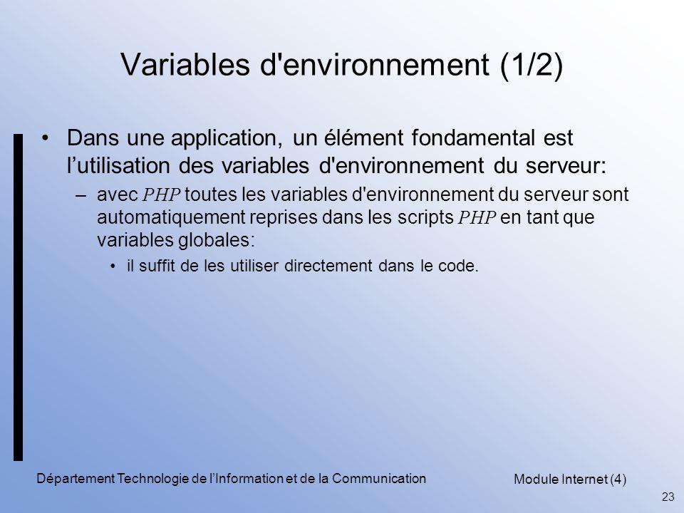 Variables d environnement (1/2)