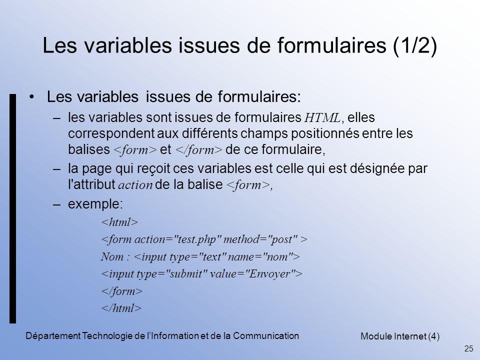Les variables issues de formulaires (1/2)