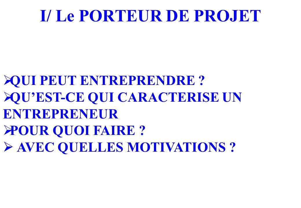 I/ Le PORTEUR DE PROJET QUI PEUT ENTREPRENDRE