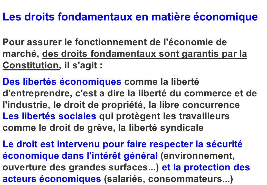 Les droits fondamentaux en matière économique