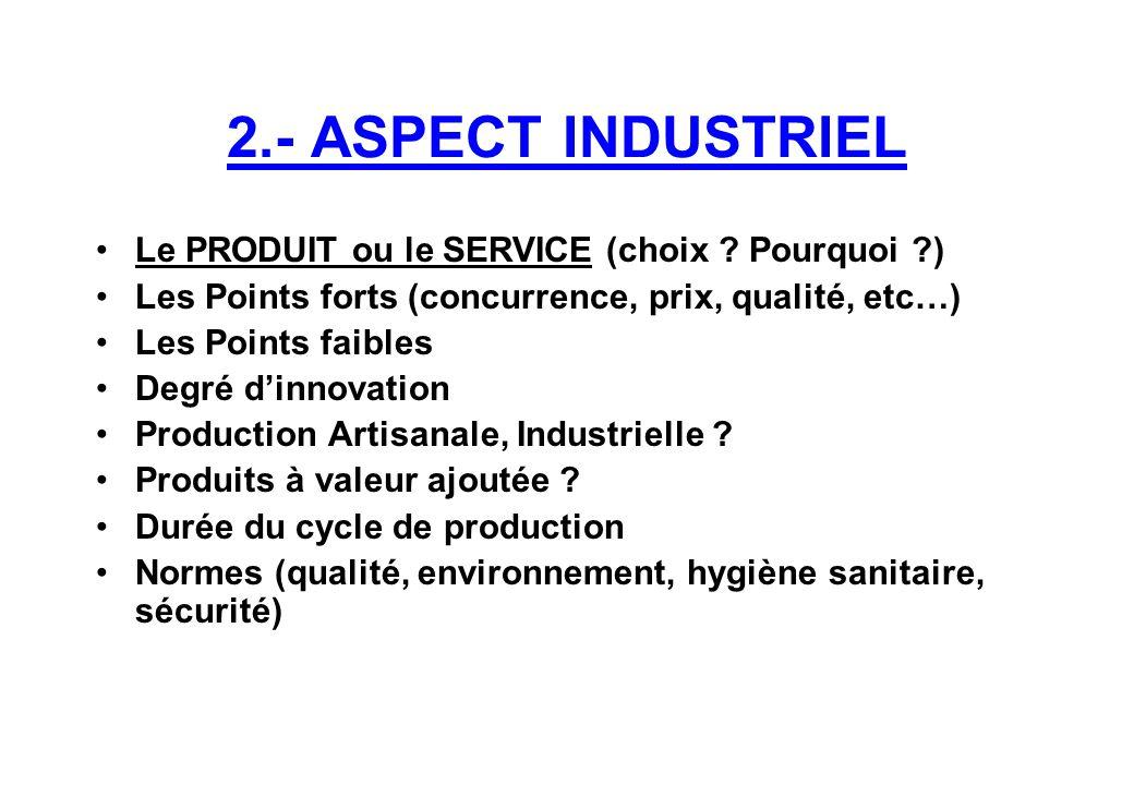 2.- ASPECT INDUSTRIEL Le PRODUIT ou le SERVICE (choix Pourquoi )