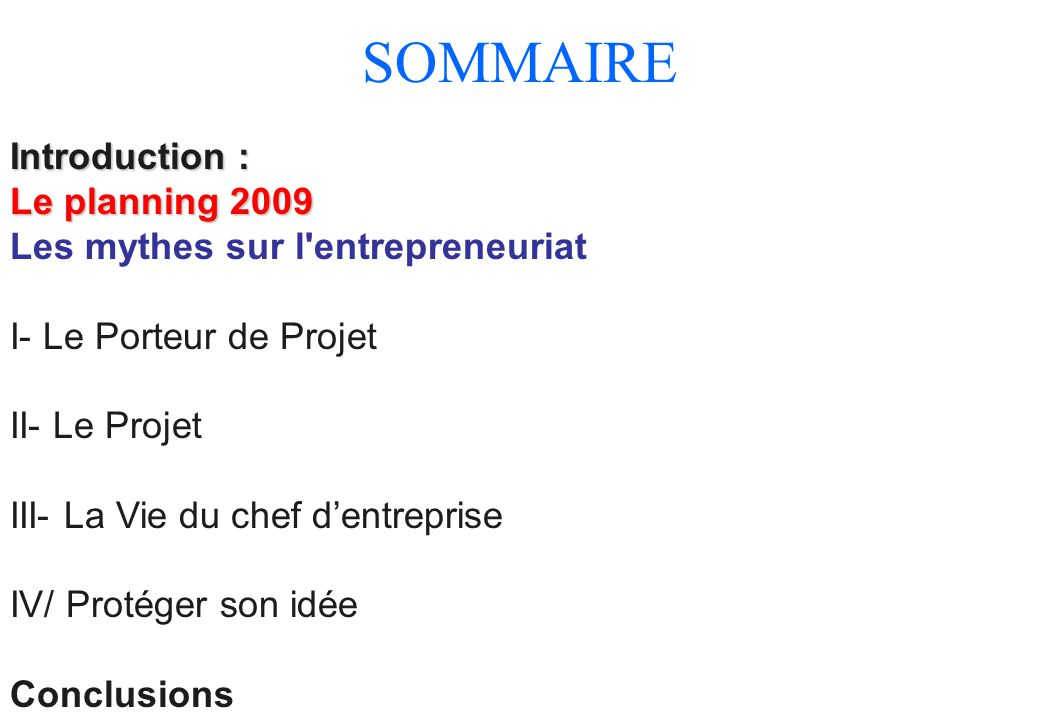 SOMMAIRE Introduction : Le planning 2009