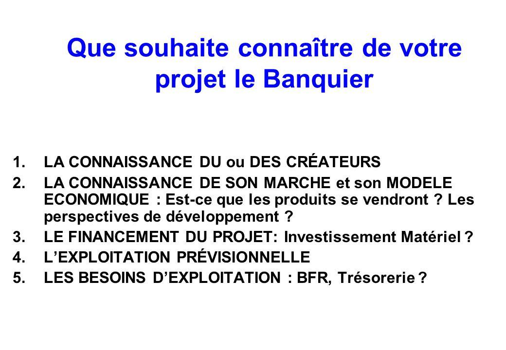 Que souhaite connaître de votre projet le Banquier