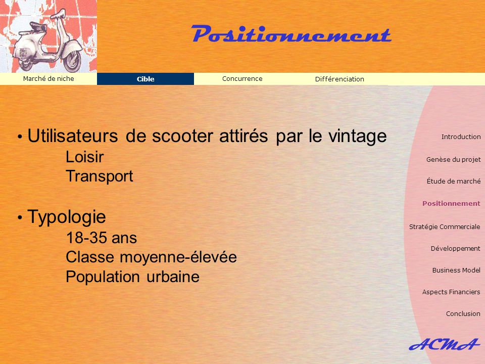 Positionnement Utilisateurs de scooter attirés par le vintage Loisir