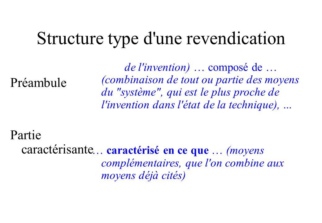 Structure type d une revendication