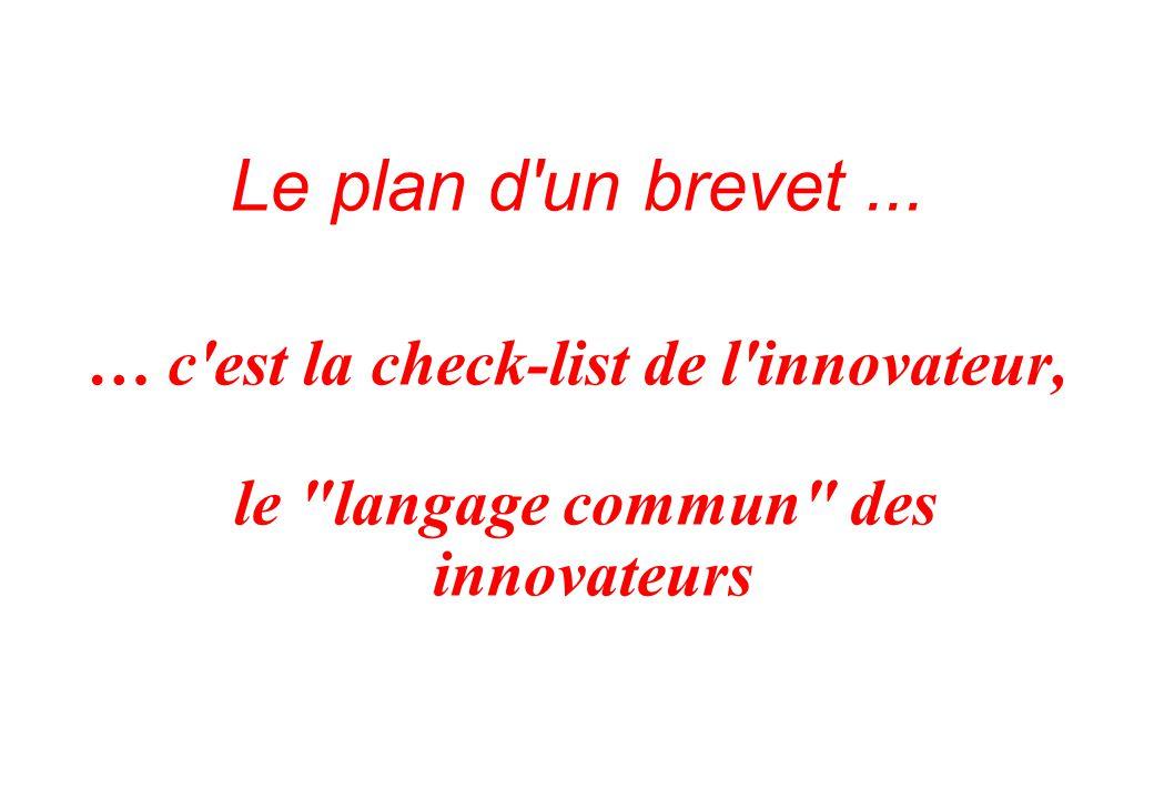 Le plan d un brevet ... … c est la check-list de l innovateur,