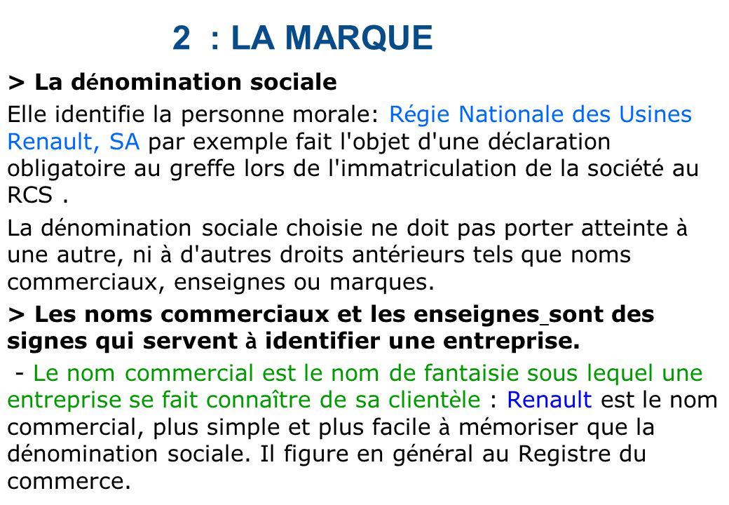 2 : LA MARQUE > La dénomination sociale