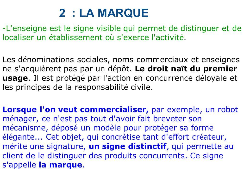 2 : LA MARQUE L enseigne est le signe visible qui permet de distinguer et de localiser un établissement où s exerce l activité.