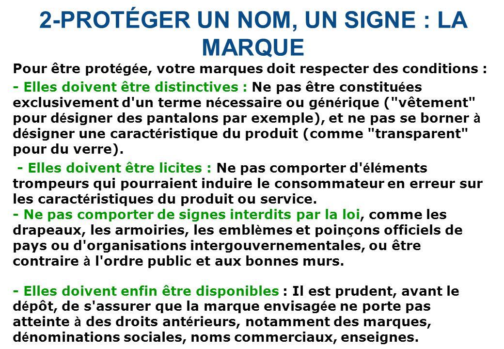 2-PROTÉGER UN NOM, UN SIGNE : LA MARQUE