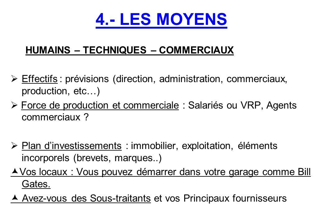 4.- LES MOYENS HUMAINS – TECHNIQUES – COMMERCIAUX