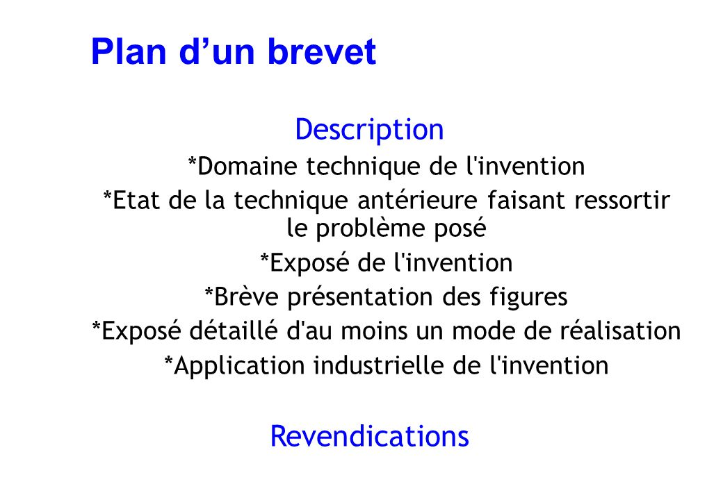 Plan d'un brevet Description Revendications