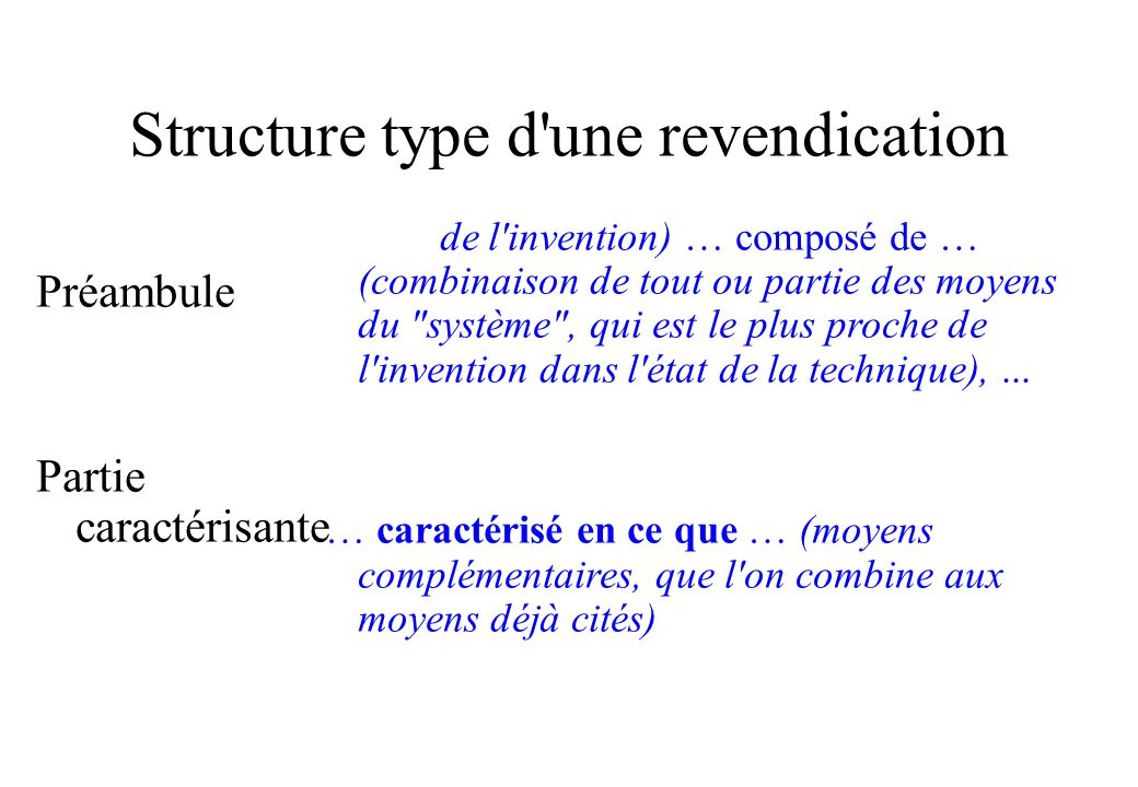 Structure type d une revendication