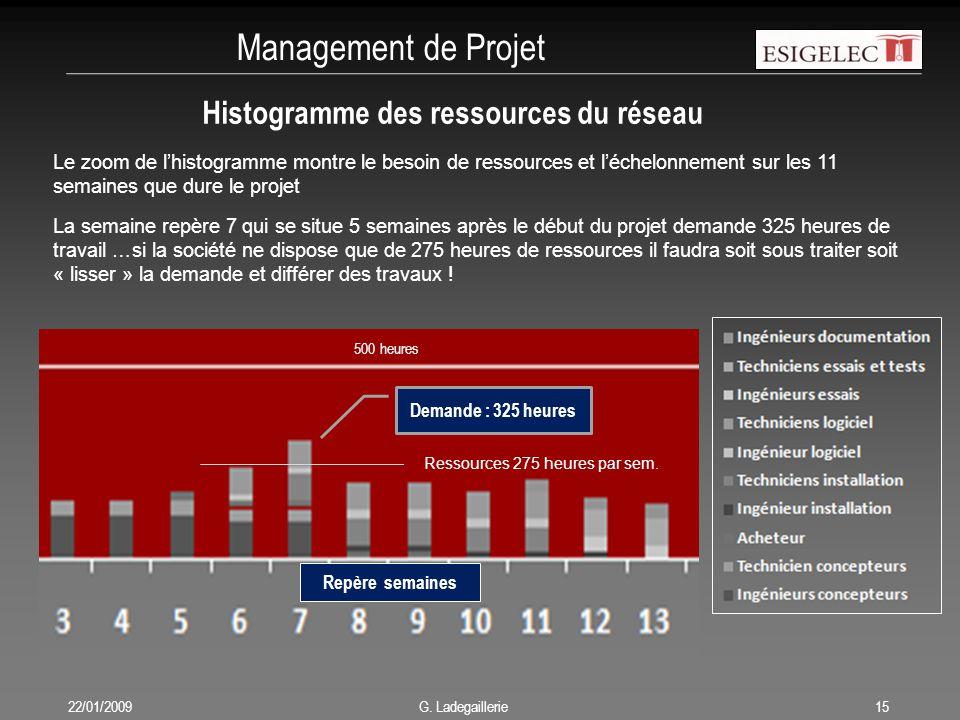 Management de Projet Histogramme des ressources du réseau