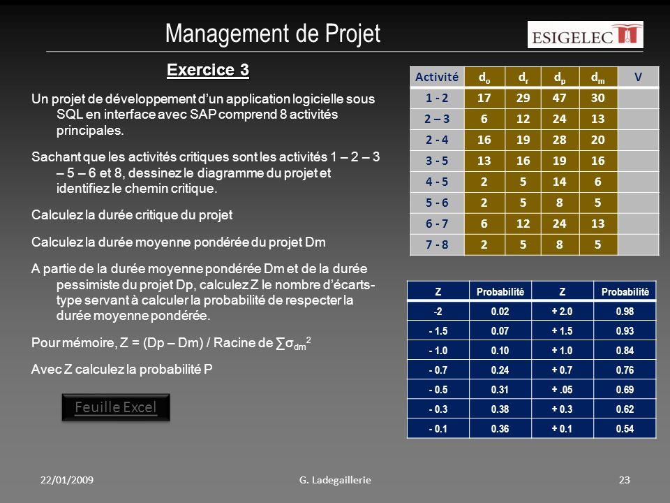 Management de Projet Exercice 3 Feuille Excel