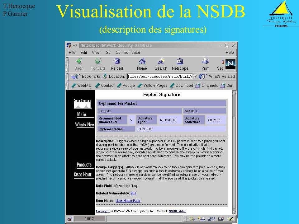 Visualisation de la NSDB (description des signatures)