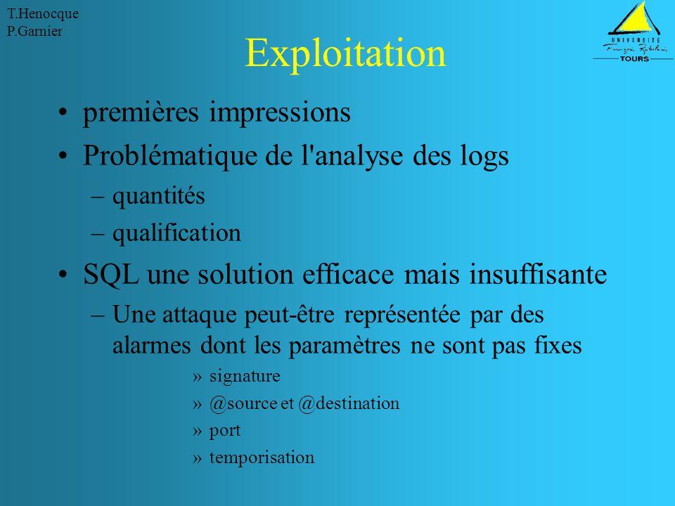Exploitation premières impressions Problématique de l analyse des logs