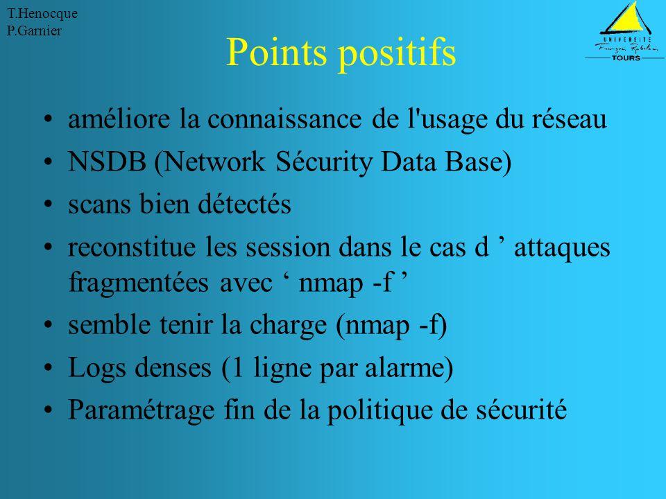 Points positifs améliore la connaissance de l usage du réseau