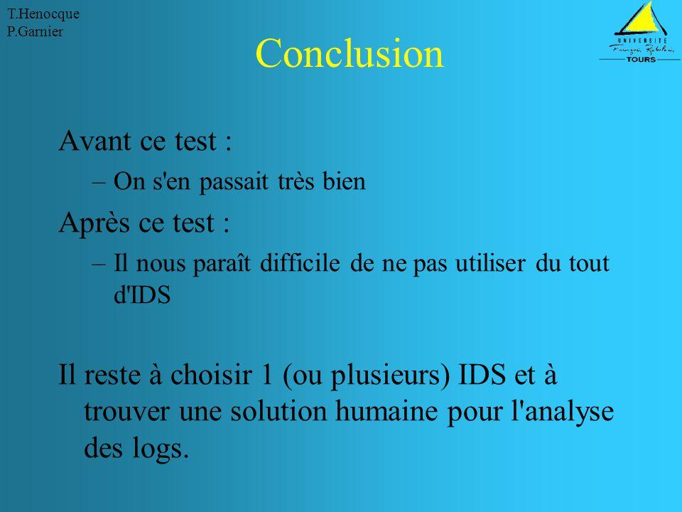 Conclusion Avant ce test : Après ce test :