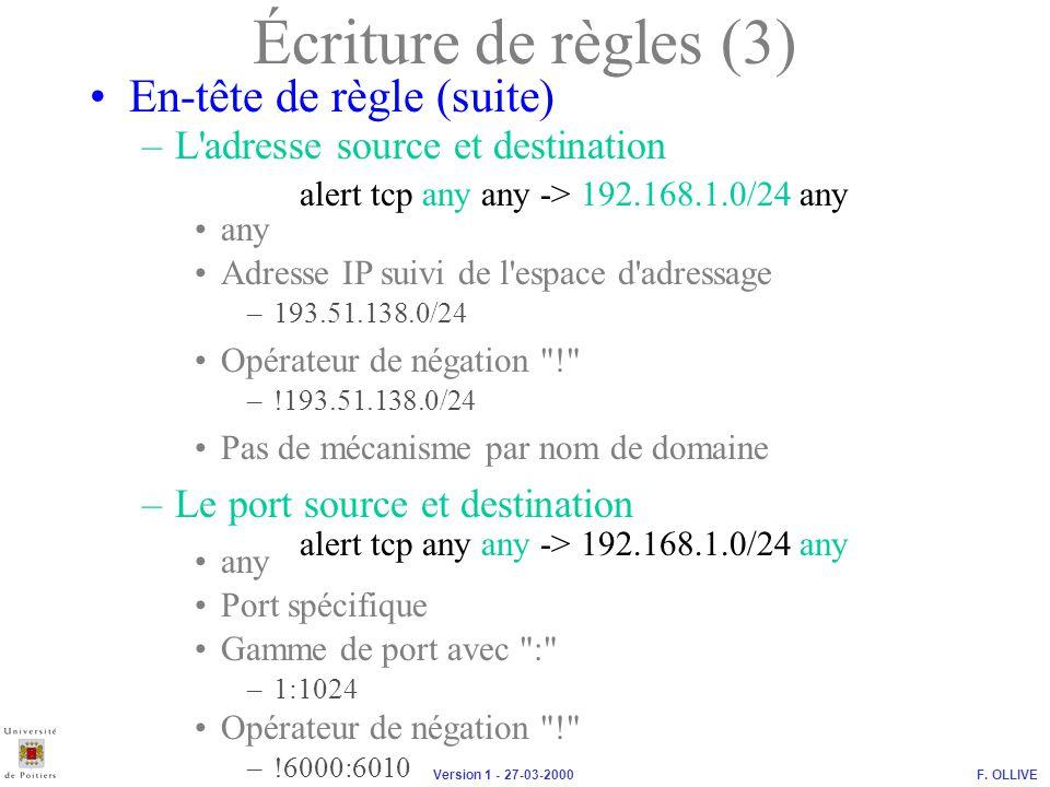 Écriture de règles (3) En-tête de règle (suite)