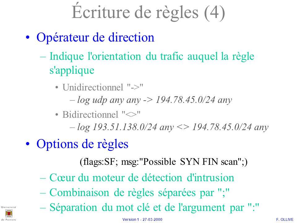 Écriture de règles (4) Opérateur de direction Options de règles