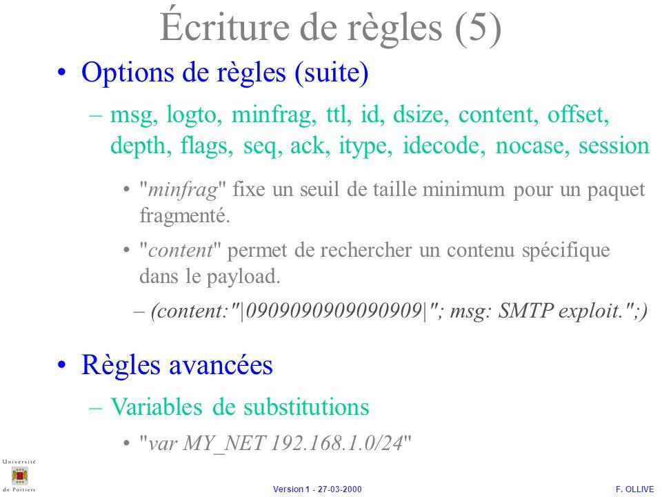 Écriture de règles (5) Options de règles (suite) Règles avancées