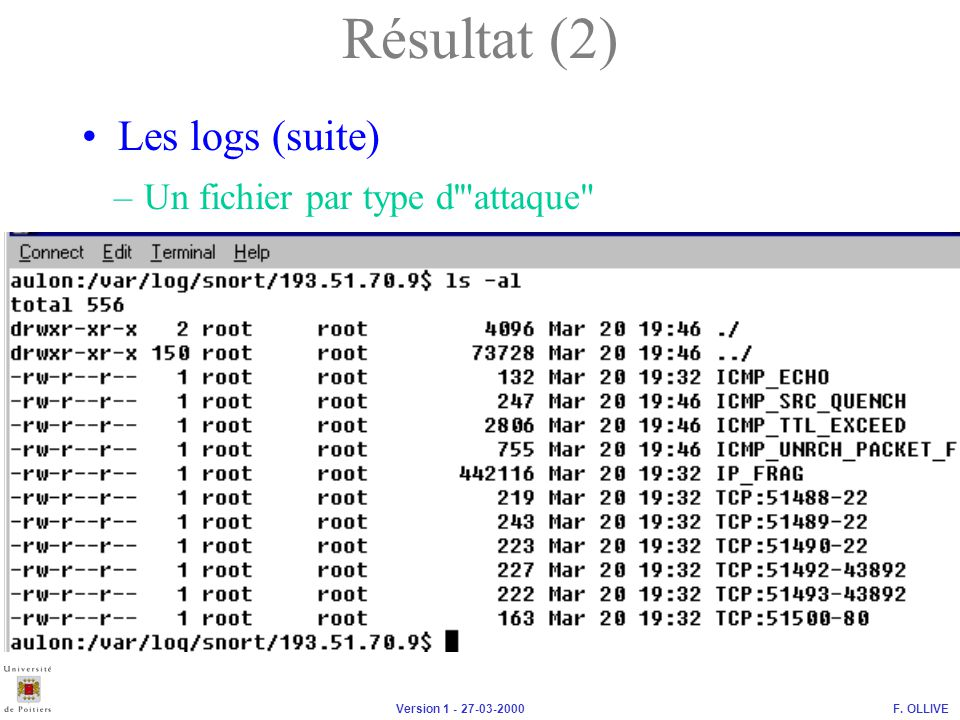 Résultat (2) Les logs (suite) Un fichier par type d attaque