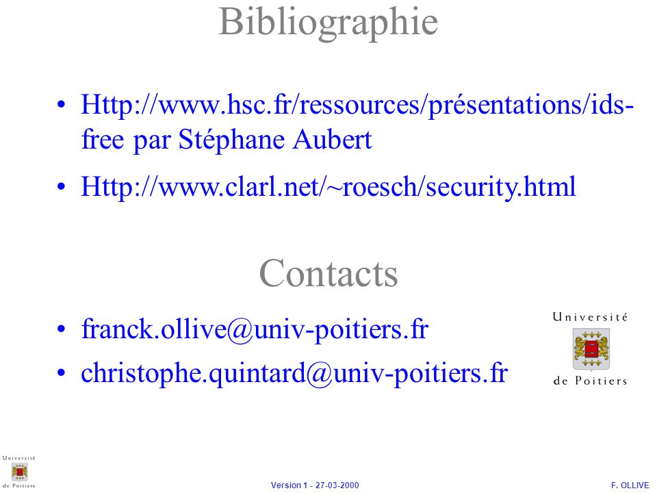 Bibliographie Contacts