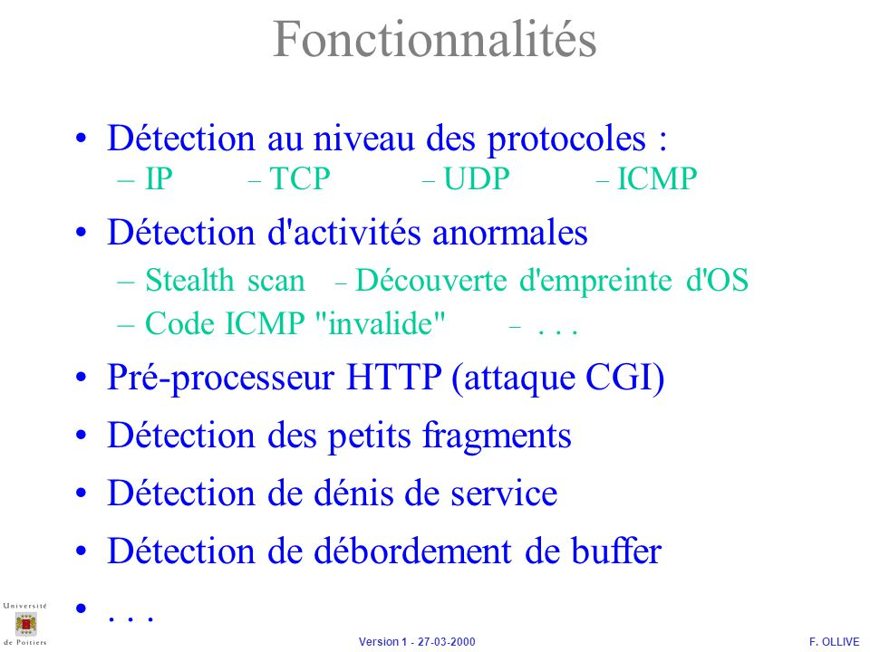 Fonctionnalités Détection au niveau des protocoles :