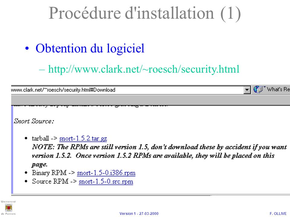 Procédure d installation (1)
