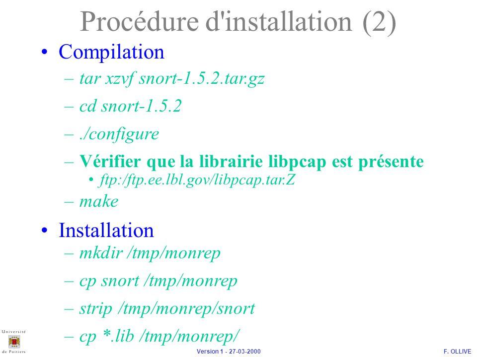 Procédure d installation (2)