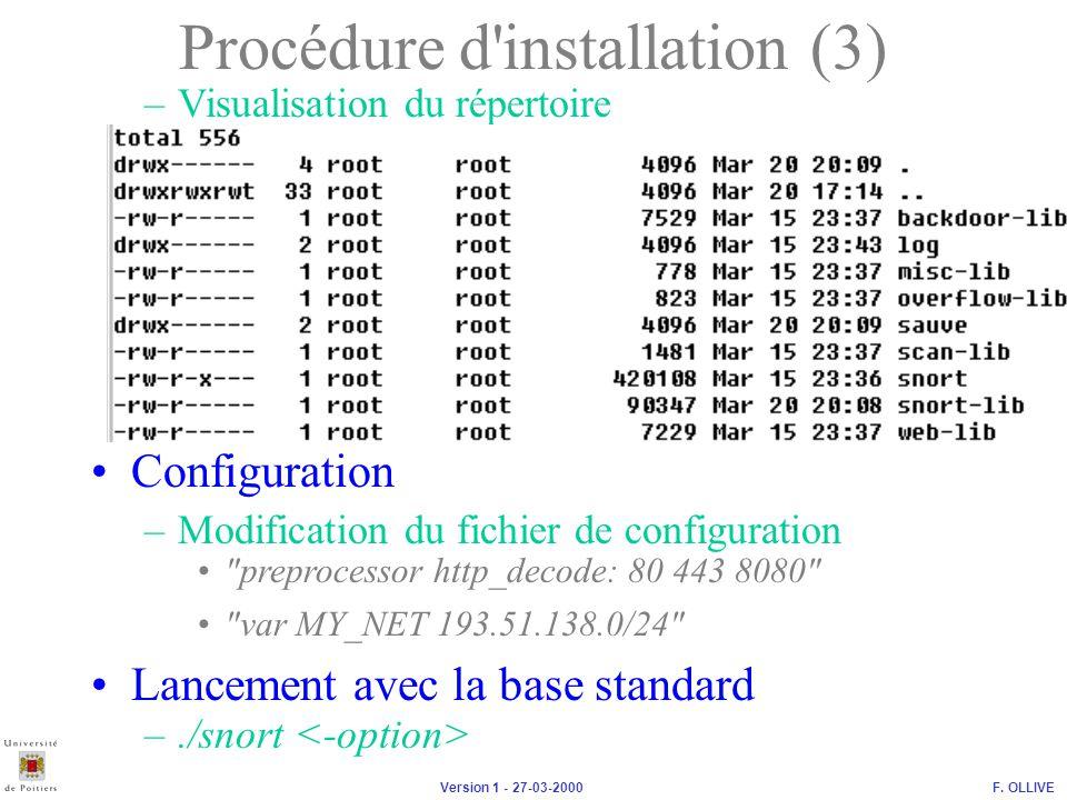Procédure d installation (3)