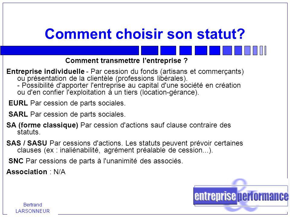 Comment choisir son statut