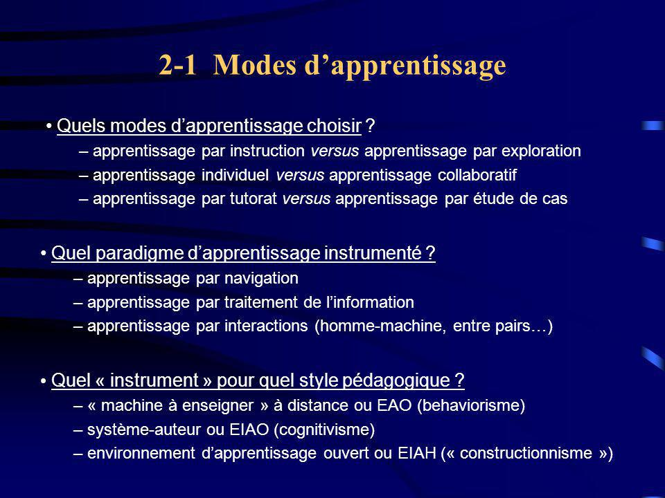 2-1 Modes d'apprentissage