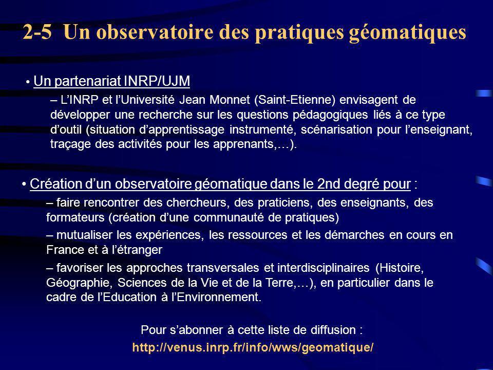 2-5 Un observatoire des pratiques géomatiques