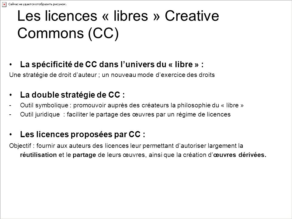 Les licences « libres » Creative Commons (CC)