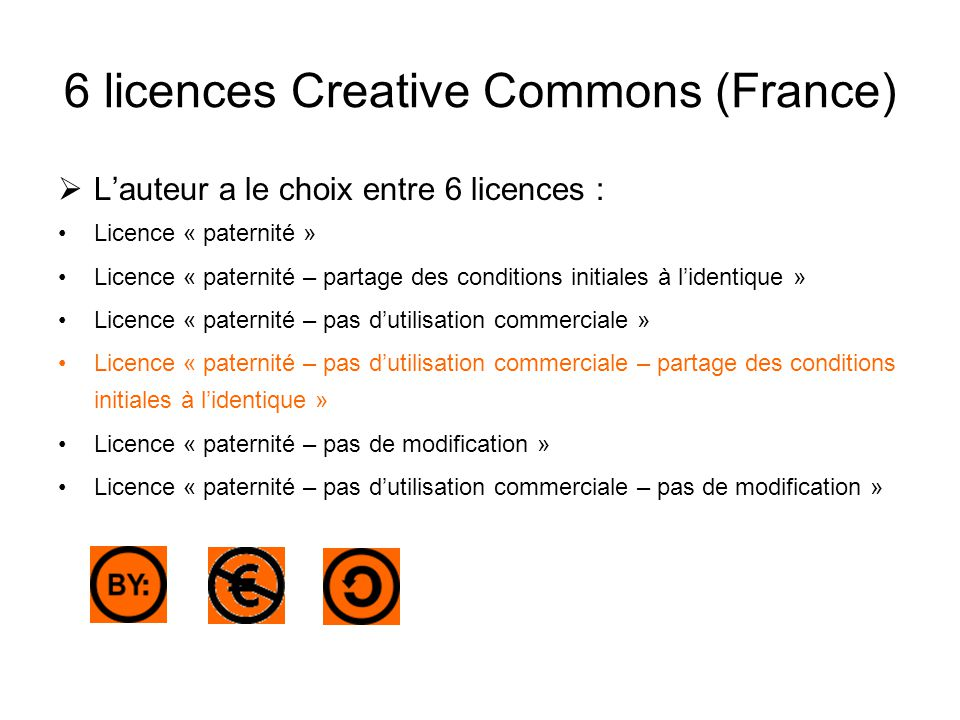 6 licences Creative Commons (France)