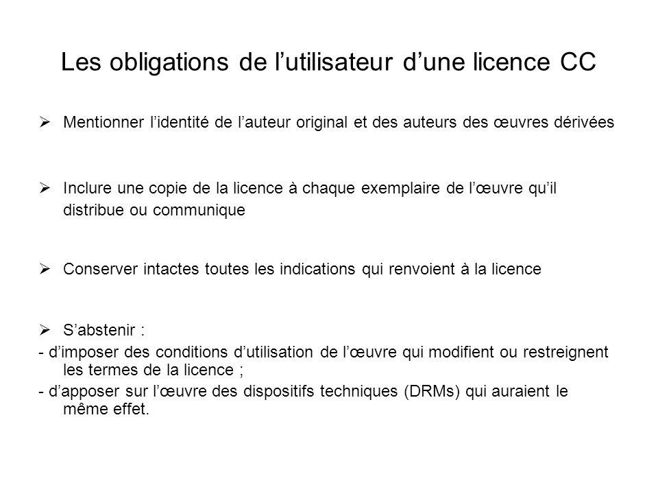 Les obligations de l'utilisateur d'une licence CC