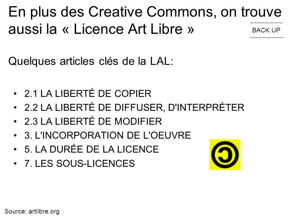 En plus des Creative Commons, on trouve aussi la « Licence Art Libre »