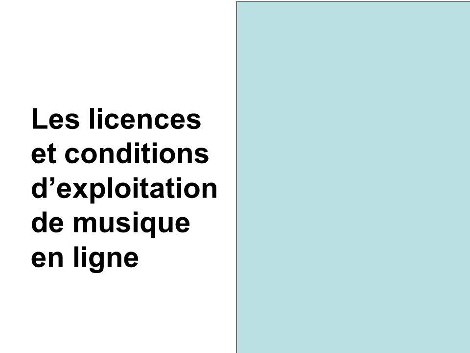 Les licences et conditions d'exploitation de musique en ligne