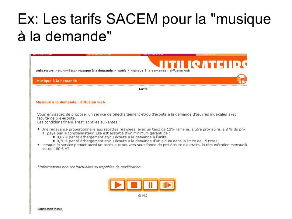 Ex: Les tarifs SACEM pour la musique à la demande