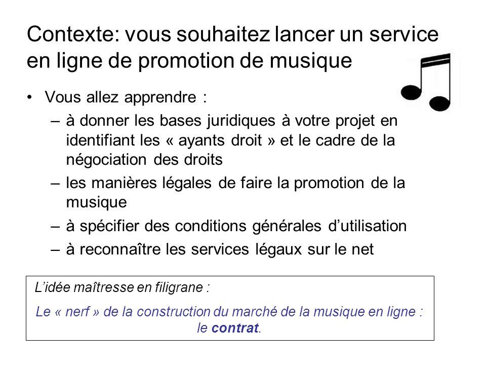 Contexte: vous souhaitez lancer un service en ligne de promotion de musique