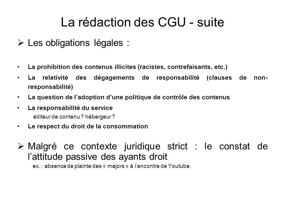 La rédaction des CGU - suite