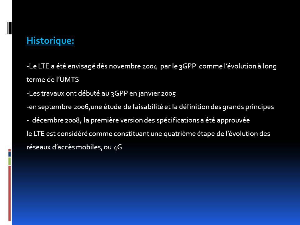 Historique: -Le LTE a été envisagé dès novembre 2004 par le 3GPP comme l'évolution à long terme de l'UMTS.